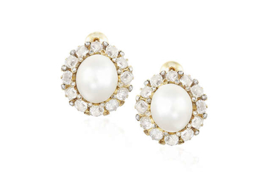 Description A PAIR OF NATURAL PEARL AND DIAMOND EARRINGS...