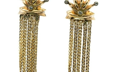 Diamond Earrings Drop Dangle Chain Crown Sun 14K Gold