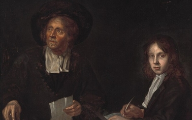 Dutch school, 17th century: Interior with two clerks. Unsigned. Oil on canvas. 97×114 cm.