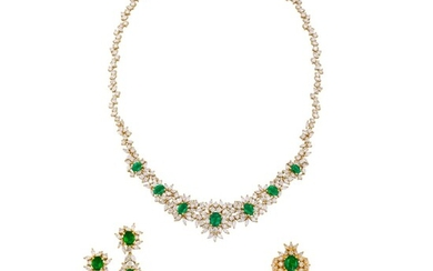 EMERALD AND DIAMOND NECKLACE, BRACELET, EARRING AND RING SUITE, MARCONI