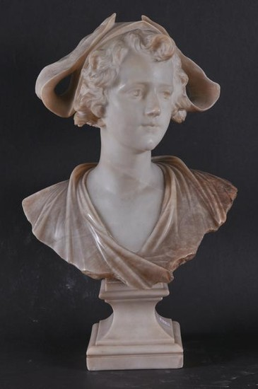 Early 20th century Italian carved marble and alabaster