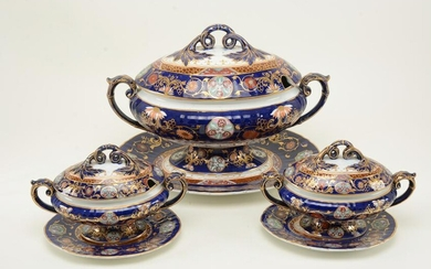 English Ironstone Covered Tureens and Trays. One large