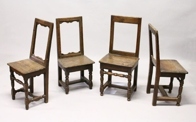 FOUR SMALL 18TH CENTURY OAK DINING CHAIRS, with framed