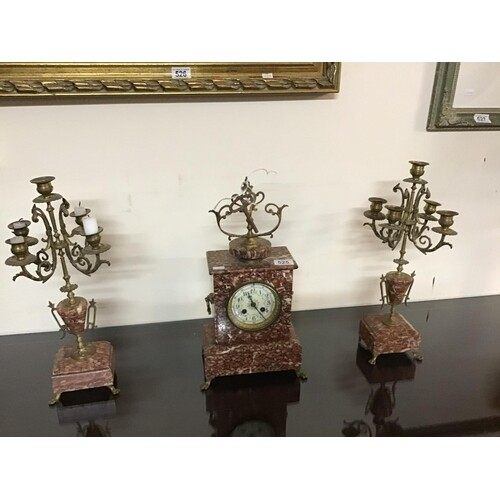 FRENCH BRASS AND MARBLE GARNITURE CLOCK SET COMPLETE WITH KE...