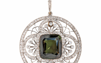 Fine Edwardian Alexandrite and Diamond Pendant