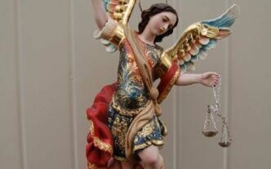 """Fine Hand Carved Wood Statue: """"St. Michael Archangel"""" +"""
