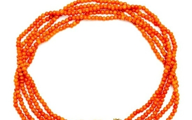 Five-pronged blood coral necklace, on 14 crt. gold...