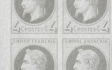 France 1866 - Empire lauré, 4 centimes grey, block of 4, imperforate, sheet corner - Yvert 27Bf