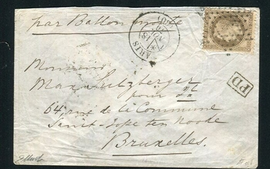 """France 1870 - Balloon mail """"Le General Ulrich"""" (November 18th - November 24th, 1870) bound for Brussels - Hollow"""