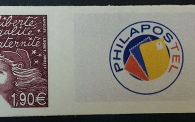 France 2003 - Rare customised stamp, €1.90 plum with Philapostel logo. - Maury Timbre personnalisé 15Aa