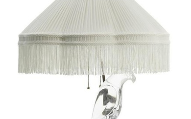 French Art Deco Rock Crystal and Giltwood Lamp
