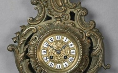French Bronze Cartel Clock, late 19th c., the scroll