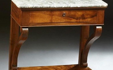 French Louis Philippe Carved Walnut Marble Top Console
