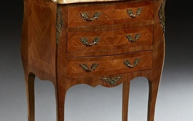 French Louis XVI Style Inlaid Carved Mahogany Marble