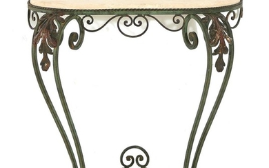 French style wrought-iron and stonetop D-shape console table