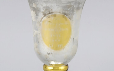 Glass cup, mid-19th century, round base, short shaft, bell-shaped top, partly gilded wall, with etched floral decoration, dedication and date. 1862, h. 16.5 cm