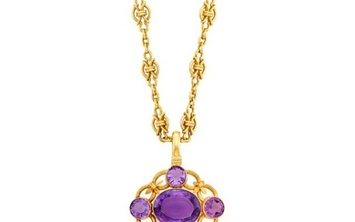 Gold and Amethyst Pendant with Gold Chain Necklace