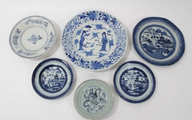 Group of six Chinese and Japanese blues and white plates