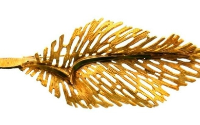 HERMES PARIS 18k Yellow Gold Feather Brooch Vintage