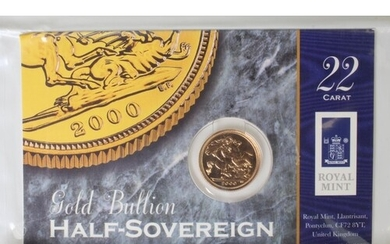 Half Sovereign 2000 BU in the Royal mint card