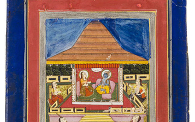 India.- Indian School (probably early 20th century) Five miniature paintings, three with matching decorative borders (5)