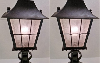 Indoor Outdoor Pair of Iron and Glass Lanterns 1930