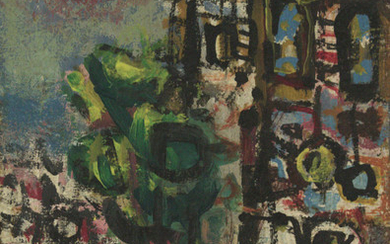 Jacob Wexler (1912-1995) - Figure on a Donkey in Urban Landscape , Oil on Canvas.