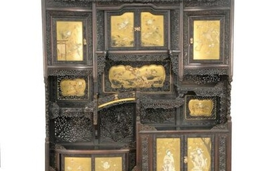 Japanese Meiji carved and painted cabinet having gilt