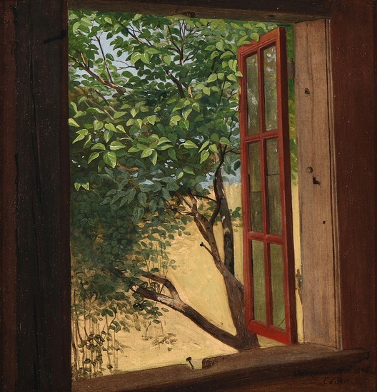 "Julius Exner: ""Værnedamsvej"". A view from an open window. Signed and dated Exner Værnedamsvej 1845. Oil on paper laid on canvas. 27×25.5 cm."