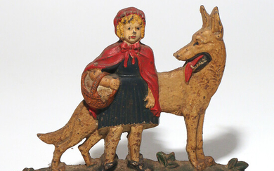 LITTLE RED RIDING HOOD CAST IRON DOOR STOP