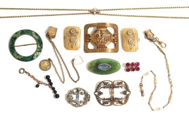 LOT OF ANTIQUE AND VINTAGE GOLD FILLED JEWELLERY