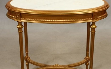 LOUIS XVI STYLE GILT WOOD AND MARBLE TOP TABLE