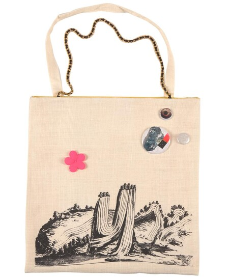 LOUISE WEAVER (born 1966) Out on a Limb 2007 screenprint on Belgium linen bag with cotton lining, customised with various found and...