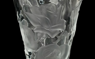 "Lalique ""Ispahan Rose"" Crystal Vase"