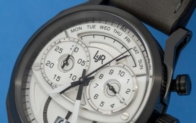 L&JR - Chronograph Day and Date Multi-layer White Dial with Grey Strap Swiss Made - S1501 - Men - Brand New