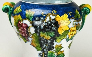 Large Italian Pottery Hand Painted Urn / Planter