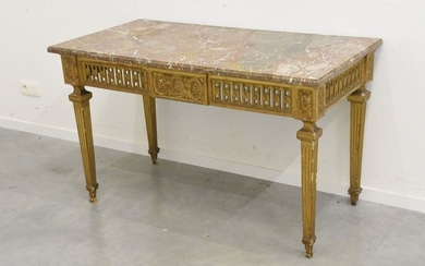 Large Louis XVI period console table in carved...