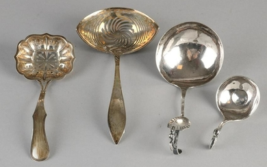 Lot four silver spoons, 833/000, an antique spoon