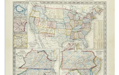 MITCHELL, SAMUEL AUGUSTUS. Mitchell's Military Map of the United States,