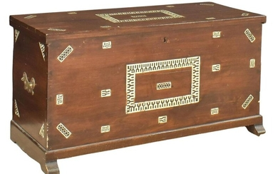 MOTHER OF PEARL INLAID STORAGE TRUNK