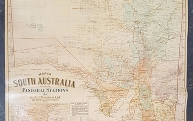 Map of South Australian Pastoral Stations, on canvas, by H E C Robinson Ltd 221-223 George St
