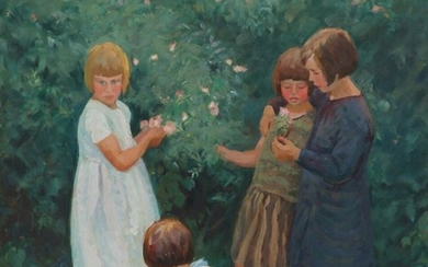 Max Nathan: Playing children. Signed and dated M. N. 32. Oil on canvas. 100×80 cm.