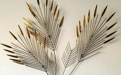 Mid Century Modern Curtis Jere Signed Branch Leaf Wall