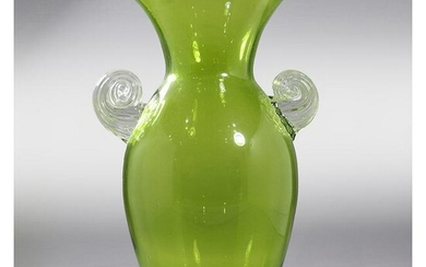 Mid-Century Modern Pale Green Glass Vase Applied Handle