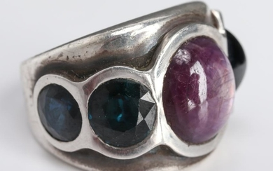 Mid-Century Modern Silver Ruby & Sapphire Ring