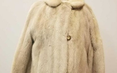 Mid-Century Modern Silvery Champagne Mink Fur Coat by