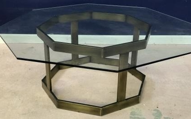 Mid Century Octagonal Glass Top Coffee Table