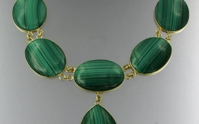 Mid-Century necklace with malachite