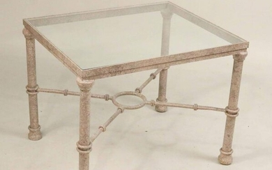 Modern Glass Top Painted Metal Side Table