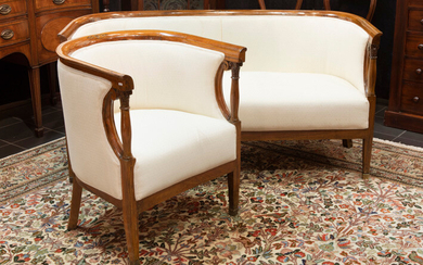 NABINE EASTES - 19° NEW colonial set of armchair and sofa in neoclassical style, realized in an exotic type of wood decorated with inlays and sculpted motifs    19th Cent. Near Eastern neoclassical set of armchair and settee in exotic wood with inlay...